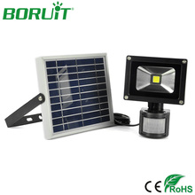BORUiT 10W LED Solar Lamp PIR Motion Sensor Solar Power Spotlight Waterproof