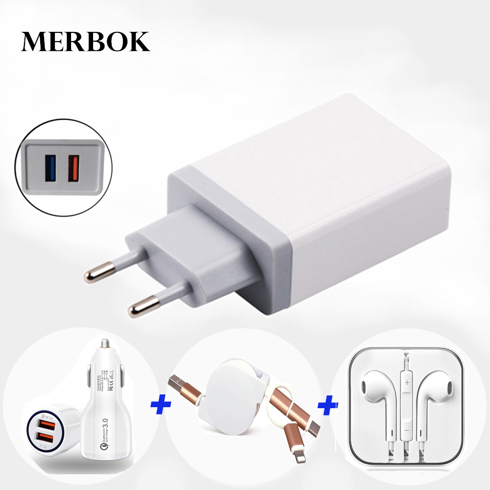 EU Plug Wall Phone Charger 2.4A With USB Data Cable For Blackberry DTEK60 DTEK70  DTEK 60 70 Car USB Charger Fast Charge 3.0