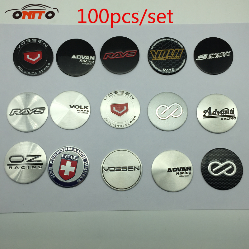 100pcs 45MM Wheels Center Cap Stickers VOSSEN OZ ADVAN RACING VOLK SPOON WORK LOGO Sticker Auto Wheel Center Label emblem rim