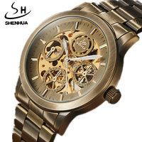 2017 SHENHUA Retro Automatic Mechanical Watches Mens Skeleton Full Brone Steel Luminous Men Sport Speed Mechanical