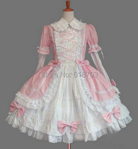 2015 HOT various colors cosplay lolita Dress customized long sleeved dresses costume for women free shipping hot sell free shipping seraph of the end krul tepes pink long clip ponytail cosplay party wig hair
