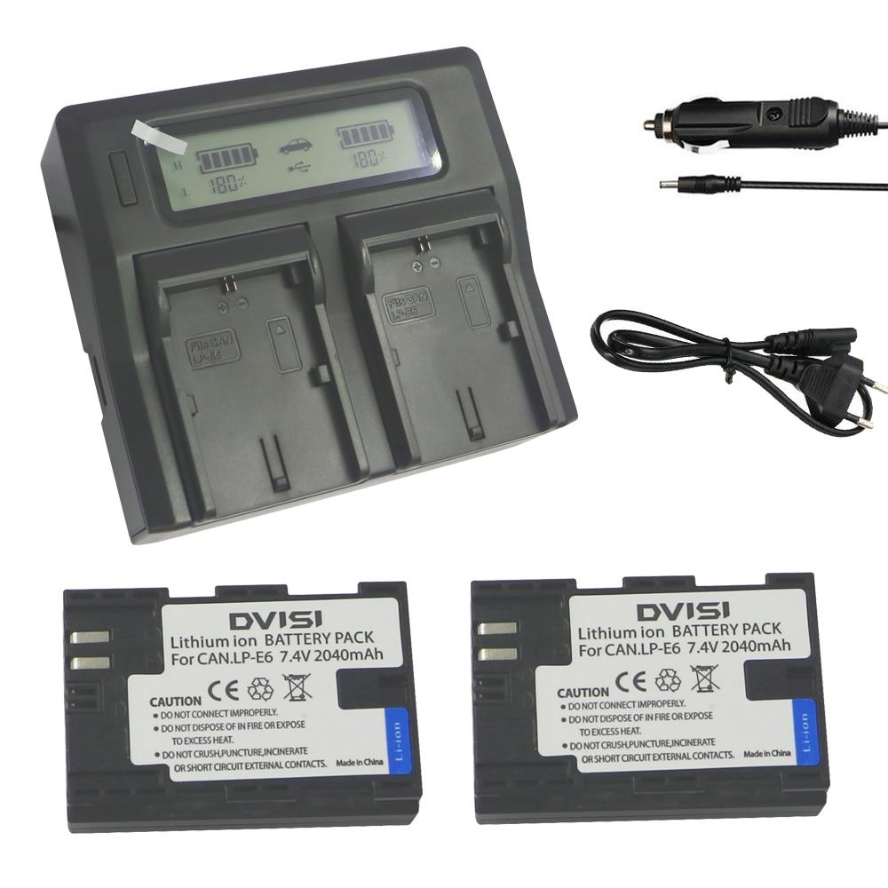 2* Full code 2040mAh LP E6 LPE6 Camera Battery  in panasonic18500cells+lcd double chager For Canon 5D 5D2 5D3 7D 7D2 7D3 36D 60D2* Full code 2040mAh LP E6 LPE6 Camera Battery  in panasonic18500cells+lcd double chager For Canon 5D 5D2 5D3 7D 7D2 7D3 36D 60D