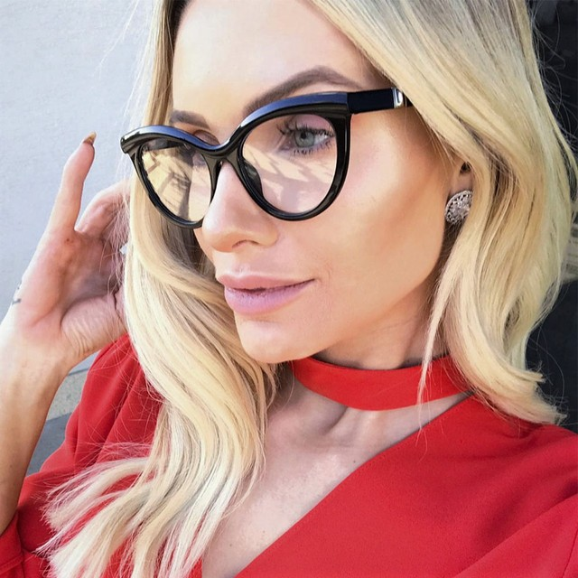 45490 Ladies Eyebrows Square Glasses Frames Women Brand Designer Optical EyeGlasses Fashion Eyewear Computer Glasses 1