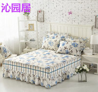1 piece 100% cotton flowers bed skirt, striped plaid bed spread, simple style mattress cover twin full queen king size