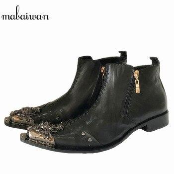 Mabaiwan plikowana skórzane męskie kostki buty metalowe szpiczasty nosek męskie buty sukienka nit wysokiej góry wojskowe buty kowbojskie męskie obuwie