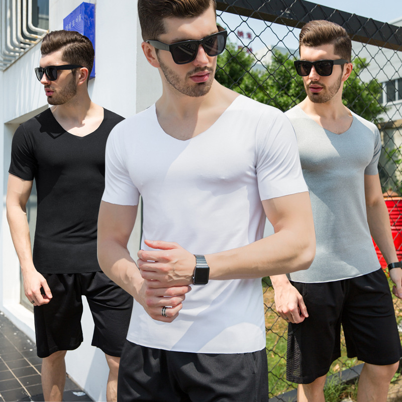 Men Ice Silk Short Sleeve Solid Color Seamless Underwear Clothing Close-fitting V-neck Comfortable Quick Dry Undershirts