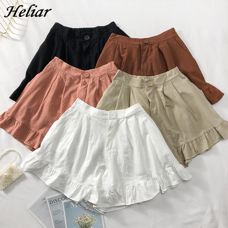 HELIAR Summer Women Casual Shorts Femenino Plus Size Short Wide Leg Ruffled Button Shorts 2019 Summer Street Wear Shorts Women