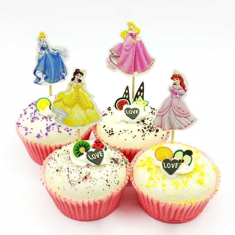 Amazing 48Pcs Cartoon Four Princess Dress Cinderella Cupcake Topper Girl Birthday Cards Printable Inklcafe Filternl