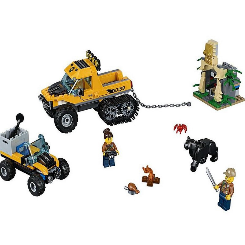 02064 LEPIN City Explorers Jungle Halftrack Mission Model Building Blocks Enlighten Figure Toys For Children Compatible Legoe 10639 bela city explorers volcano crawler model building blocks classic enlighten diy figure toys for children compatible legoe