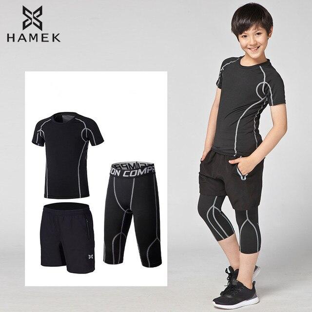 3f5b86bd17013 Kids soccer sets shorts sportswear basketball tennis pants running shirts  tights sports football leggings GYM fitness underwear