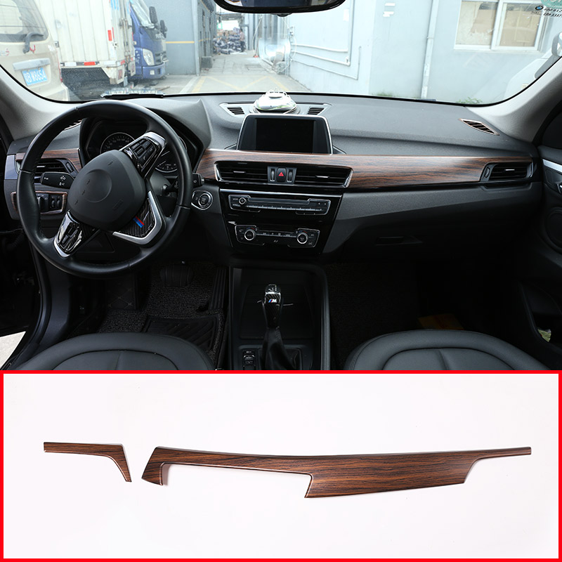 Pine Wood Grain For BMW X1 F48 2016 2018 ABS Plastic Car Interior Center Console Protection Panel Cover Trim For BMW X2 F47 2018