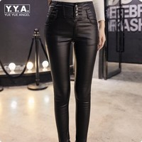 2017 Winter New Fashion Sexy Sheepskin Genuine Leather Pants Womens Slim Fit High Waist Fleece Lining