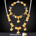 Charms Necklace And Bracelet DIY Jewelry Set Cute Elephants Gold Plated Crystal Glass Bead Fashion Jewelry For Women NH867