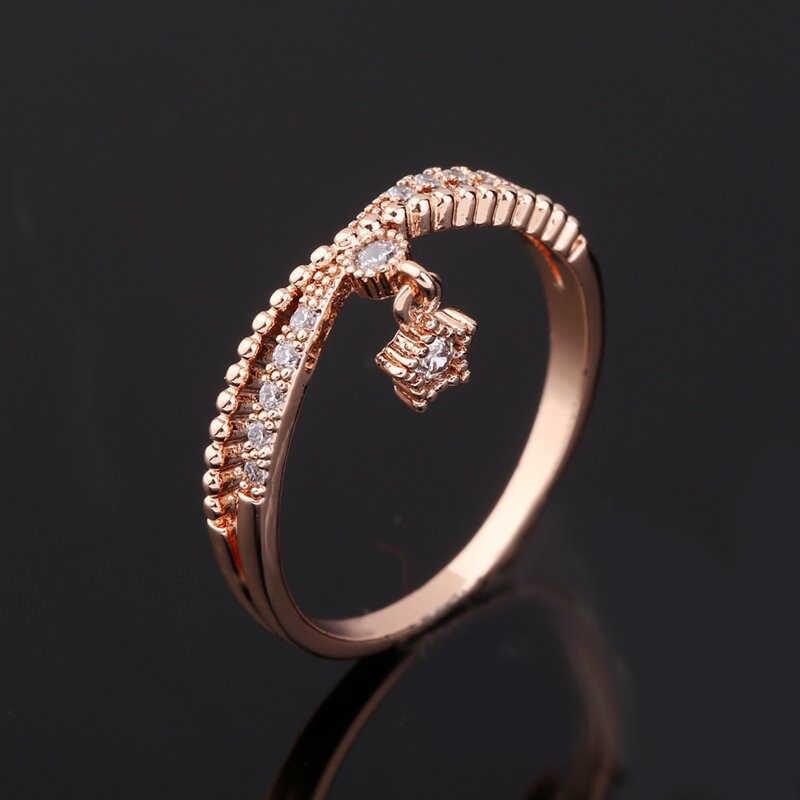 MIGGA délicat petite étoile pendentif cubique Zircon anneau couleur or Rose mode femmes filles cadeau Bague en cristal