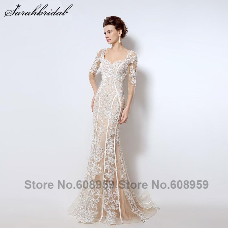 Nude Cut Back Mermaid Evening Dresses New Fashion Crystal Lace Three Quarter Sleeve Long Prom Dress Vestido De Festa LSX013