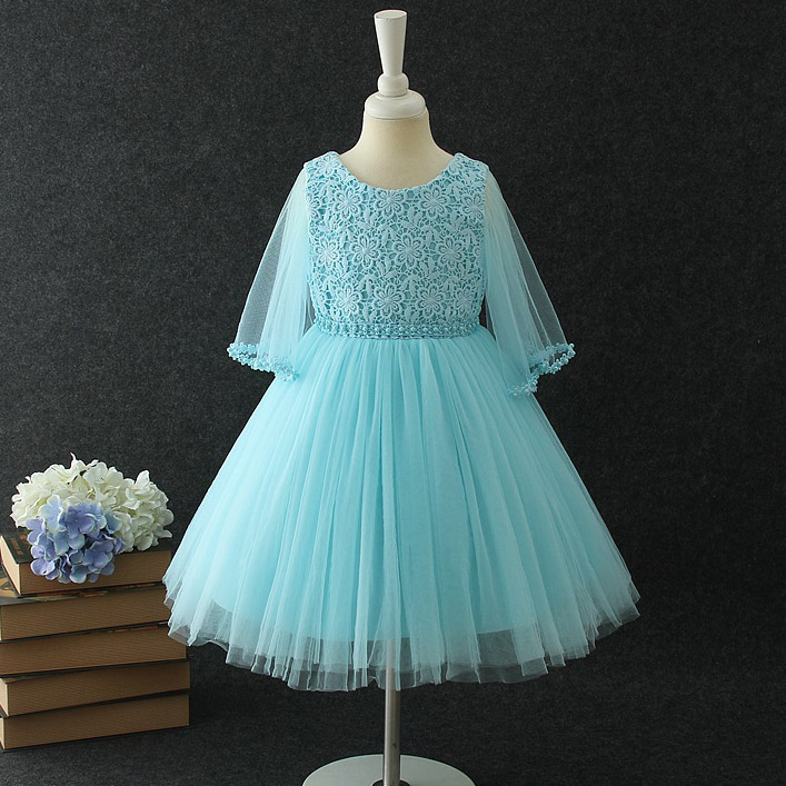 Girls Tulle lace Pearls Dress Baby Girl Party Clothes Flower Kids Princess Frocks La Reine des neiges For 2 4 6 8 10 12 Years