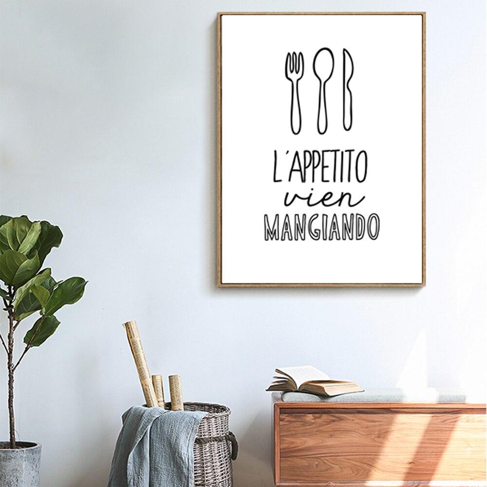 Lettere Da Appendere Al Muro us $4.5 25% di sconto|tela stampa artistica picture muro, cucina o sala da  pranzo decorazione della parete, utensili da cucina e buon appetito,