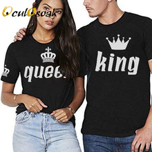 King Queen Couples T Shirt Crown Printing Couple Clothes Summer T-shirt 2019 Casual O-neck Tops Lovers Tee