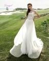 Dreagel New Arrival Scoop Neckline Lace Sheath Wedding Dresses 2017 Delicate Appliques Vestido Detachable Train Robe de Mariage