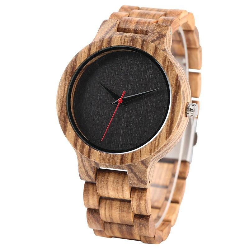 Black/Coffee Dial Zebra Wood Watch Men Quartz Modern Bamboo Wooden Creative Watches 2017 New Arrival Handmade Simple Clock Gift