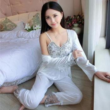 3pcs/set Women Silk Satin Sleepwear Sexy Sling Tops+Coat+Pants Outfits
