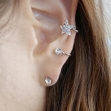 Goth Ear Cuffs for Women Single Ear Clips Jewelry Accessories Star Crystal Clip On Earrings No Pierced Earring No Ear Hole
