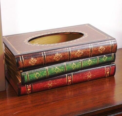 Craft nouveau élégant fabriqué à la main en bois savante Antique livre distributeur de mouchoirs en bois distributeur boîte couverture porte-serviettes UK