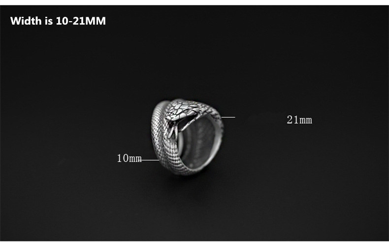 Uglyless Real S 925 Sterling Silver Cobra Rings Men Exaggerated Snake Wide Finger Ring Cool Gothnic Punk Jewelry Handmade Bijoux