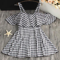 2018 Sexy Plus Size One Piece Swimsuit Women Dress Swimwear Female Bather Black White Plaid Print Beach Bathing Suit Skirt
