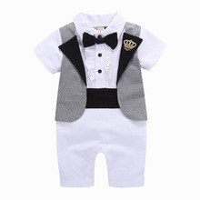 hot deal buy jxysy toddler baby rompers spring new baby born clothes boys jumpsuit 2019 autumn gentleman cotton funny baby boys clothes sets