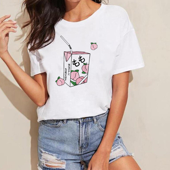 Cartoon Peach Juice Japanses Aesthetic Grunge T-Shirt Women Girls 90s Harajuku Kawaii White T Shirt Tumblr Outfit Tops