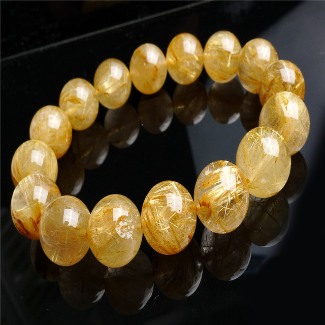 Brasileiro Natural Ouro Quartzo Rutilado Cristal Pulseiras Mulheres Jóias Contas Redondas Homens Estiramento Pulseira 14mm