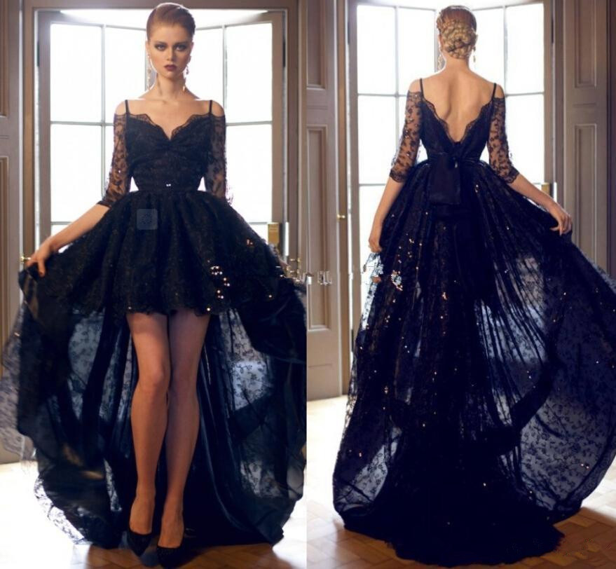 Hi Low 2019 Prom Dresses Ball Gown V-neck Lace Beaded Backless Party Maxys Long Prom Gown Evening Dresses Robe De Soiree