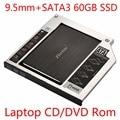 Zheino SATA 60GB 120GB 128GB 256GB SSD + Aluminum 9.5mm Laptop 2nd Sata SSD HDD Frame Caddy Adapter Bay CD/DVD-ROM Optical