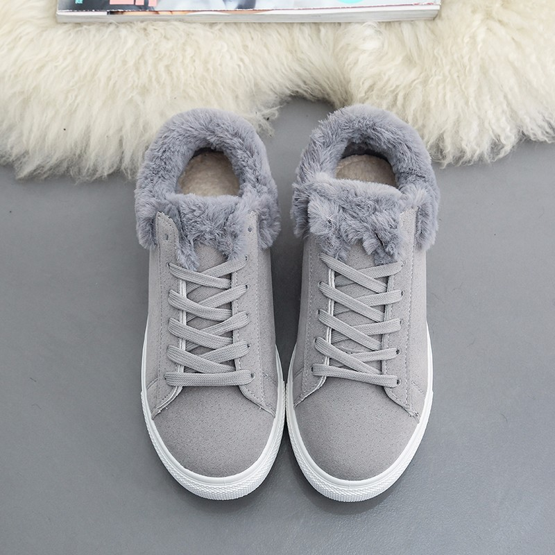 Women Flats For Winter Plush Warm Shoes Casual Flat Heels Lace Up Ladies Shoes Size 35-40 Black Gay Pink Fashion Fur Shoes NX5 (18)