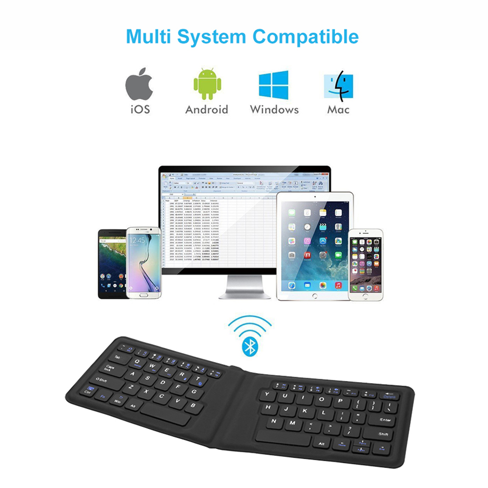 Image 2 - AVATTO B05 Portable Mini Folding Keyboard, Traval Bluetooth Foldable Wireless Keypad for iphone,Android phone,Tablet,ipad,PC-in Keyboards from Computer & Office