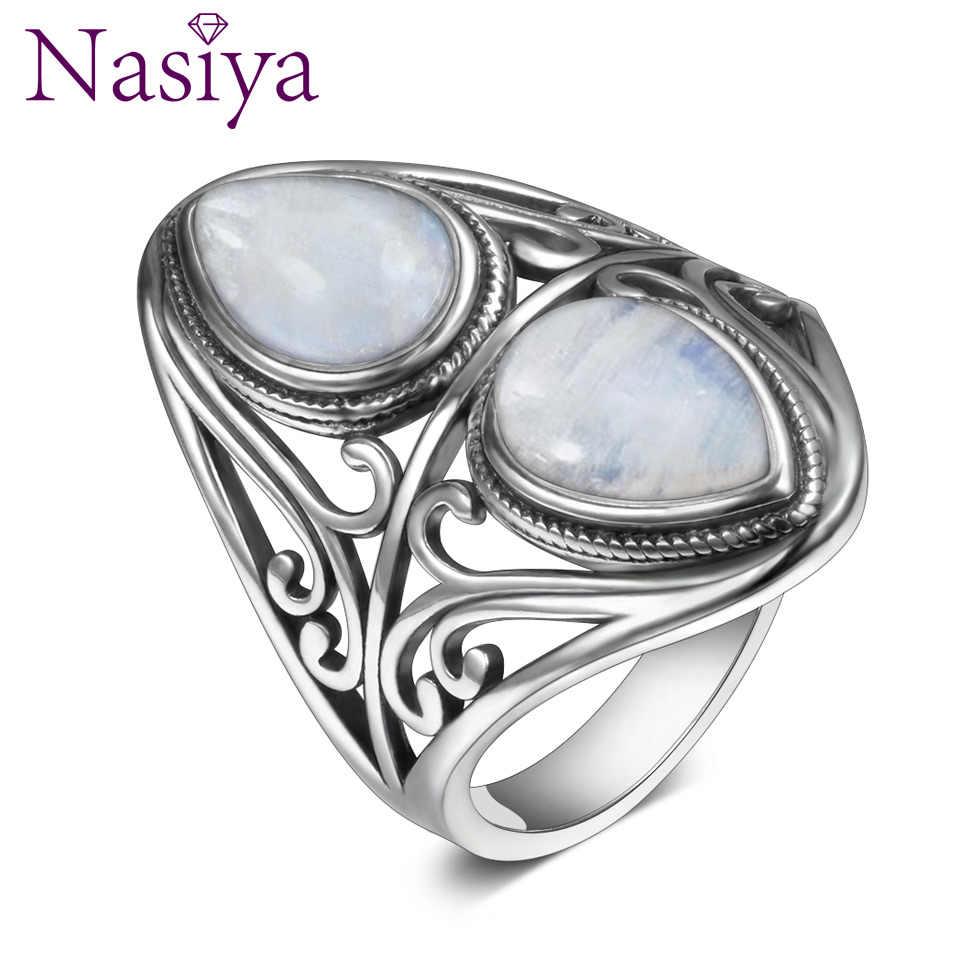 แหวนเงินแท้ 925 ออกแบบ VINTAGE NATURAL Rainbow Moonstone แหวนผู้หญิงผู้ชายเครื่องประดับของขวัญ