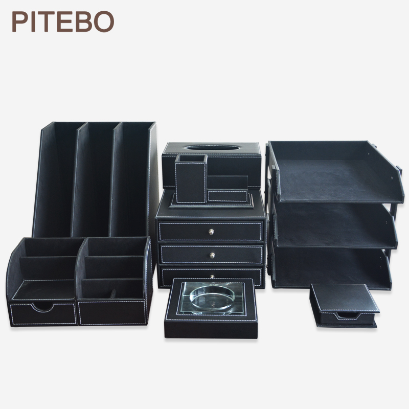 PITEBO Black 8PCS/set wood leather office business desk file cabinet stand stationery organizer pen holder box file rack|desk file cabinet|desk fileleather desk set - title=
