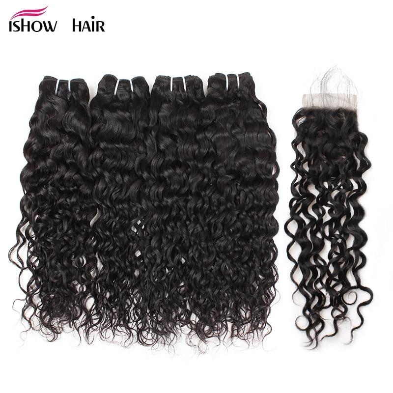 Ishow Brazilian Water Wave Bundles With Closure Free Part 4 Bundles Human Hair Weave Bundles With Lace Closure Non Remy Hair