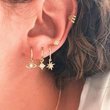 5 Pcs/set Bohemian Personality Eyes Stars Crystal Geometry Gold Earrings Set Women Charm Party Wedding Jewelry Accessories