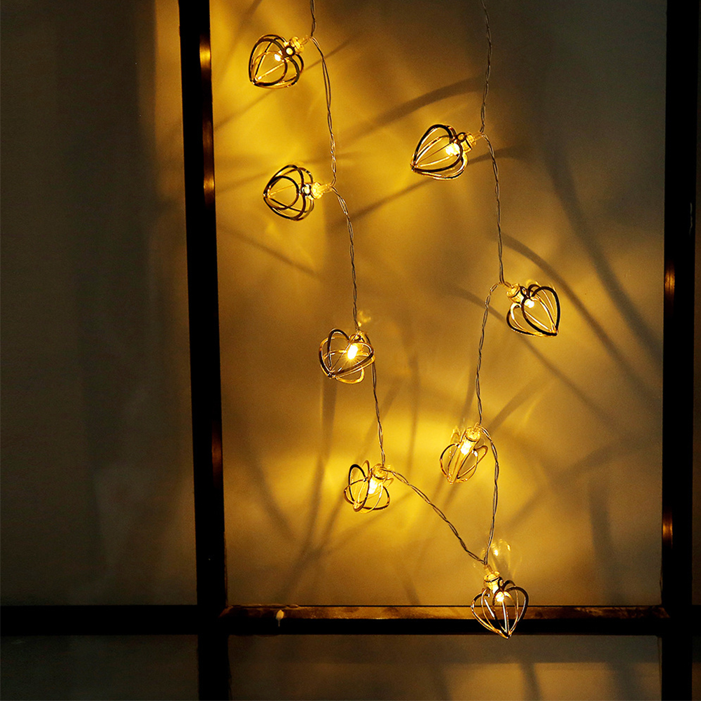 Lights & Lighting Bedroom Party Festival Light String Metal Heart Shape Living Room Hollow Out Fairy Lamps Home Decor Charming Durable Professional Design