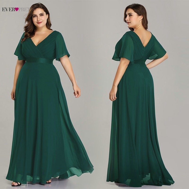Image 4 - Plus Size Formal Evening Dresses Ever Pretty Elegant Burgundy Glamorous Ruffles Padded Chiffon Evening Gowns with Short Sleeves-in Evening Dresses from Weddings & Events