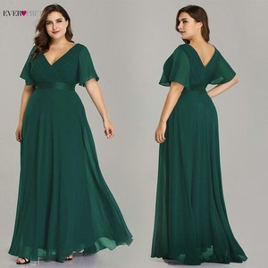 Image 5 - Plus Size Formal Evening Dresses Ever Pretty Elegant Burgundy Glamorous Ruffles Padded Chiffon Evening Gowns with Short Sleeves