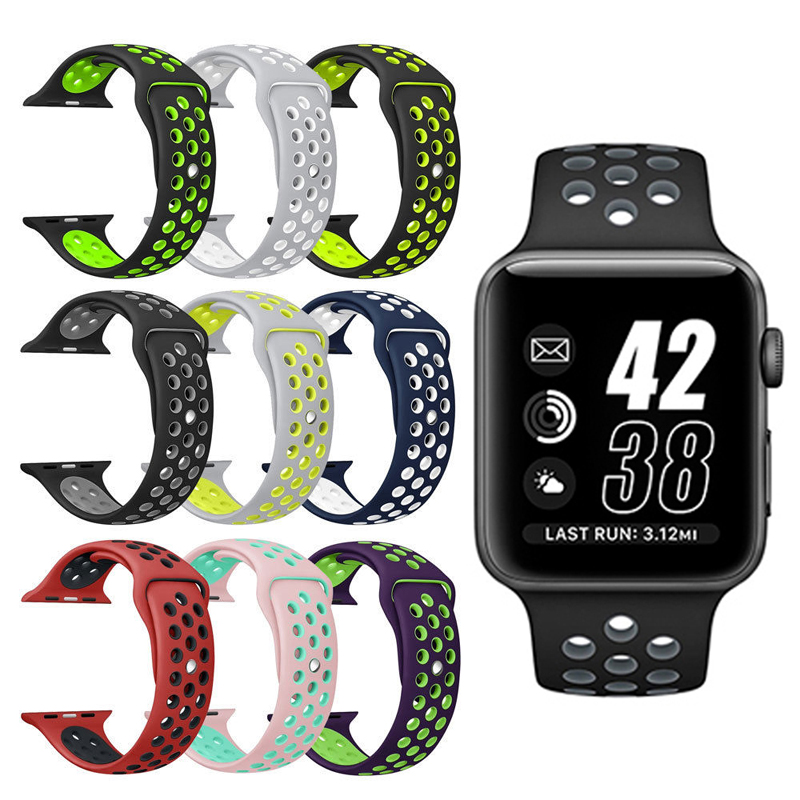 все цены на Brand sport Silicone band strap for apple watch nike 42mm 38mm bracelet wrist band watch watchband For iwatch apple strap 3/2/1 онлайн