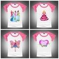 2016 Brand New Girls Summer T-Shirt 100% Cotton Short Sleeve Tops Lovely Girls Princess Printing Pretty Tshirts Outfits Tees