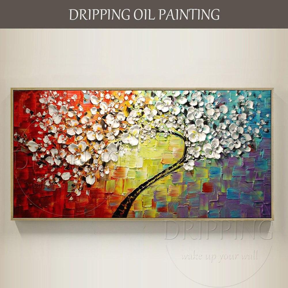 Artista esperto dipinta A mano di Alta Qualità Pesante Strutturato Albero Fiore Pittura A Olio su Tela Spessa 3D Pittura A Olio per Soggiorno