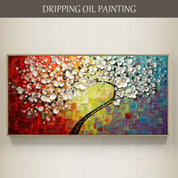 Artista experto pintado a mano de alta calidad con textura pesada flor árbol en lona 3D pintura al óleo gruesa para sala