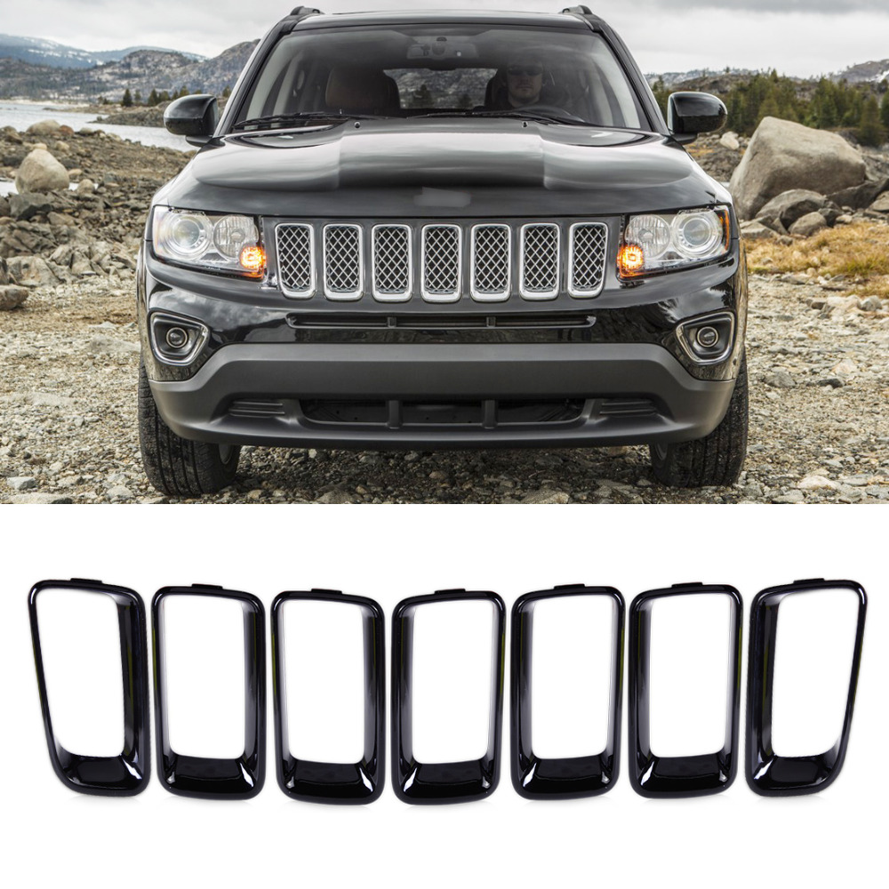 beler 7pcs Black Front Grille Vent Hole Cover Trim ჩადეთ ჩარჩო Billet ვერტიკალური Jeep Compass 2011 2012 2013 2014 2015 2016