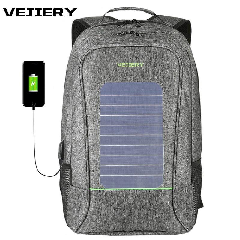 VEJIERY Multifunction Solar Energy Men Backpack Waterproof 15.6 inch Laptop USB Charging Backpack Leisure Travel Bag Anti Thief vejiery men