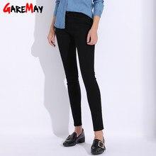9717fc336c Garemay negro Jeans Mujer más tamaño flaco lápiz Casual Pantalones mujer  2018 Jeans mujeres con cintura alta estiramiento Jean f.